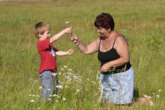 Grandmother and grandson Stock Photography