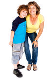 Grandmother and grandson hugging each other Stock Photos