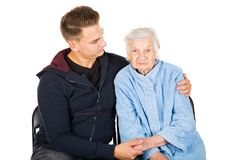 Grandmother and grandson Stock Images
