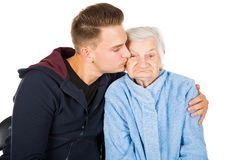 Grandmother and grandson Royalty Free Stock Photo