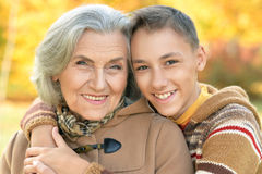 Grandmother  and grandson hugging Royalty Free Stock Photography
