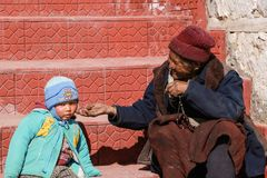 Grandmother and grandson in Leh Stock Photos