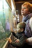 Grandmother and grandson in museum Stock Photography