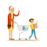 Grandmother And Grandson Shopping, Happy Family Having Good Time Together Illustration. Household Members Enjoying Spending Time Together Vector Cartoon Royalty Free Stock Images
