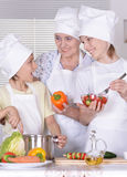 Grandmother and grandsons cooking together Stock Photos