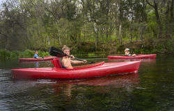 Grandmother and Grandsons Kayaking Stock Image