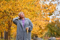 Grandmother on a walk in the autumn park with a pensive look Stock Image