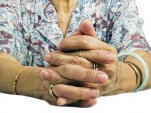 Grandmother Hand. My grandmother hand put on white background Stock Photo