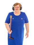 Grandmother headphones Royalty Free Stock Image