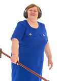 Grandmother headphones Royalty Free Stock Photography