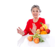 Grandmother healthy diet - elder woman isolated on white backgr Stock Photos
