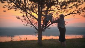 Grandmother helps her grandson to climb a tree against the summer sunset. Grandmother helps her little grandson to climb a tree against the summer sunset stock footage