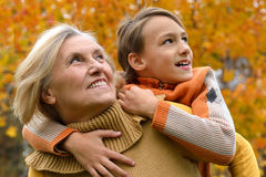 Grandmother with her boy Stock Photo