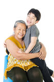 Grandmother with her grandchild. Portrait of Grandmother with her grandchild isolated on white background Royalty Free Stock Photography