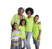 A grandmother and her 4 grandchildren. Isolated on white Royalty Free Stock Images