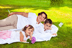 Grandmother and her grandchildren Stock Photo