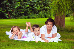 Grandmother with her grandchildren in the park Stock Images