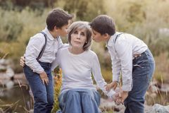 Grandmother with her grandchildren royalty free stock image