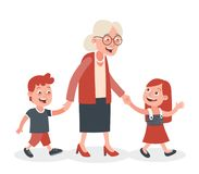 Grandmother and her grandchildren walking. Grandmother with her grandchildren walking, she takes them by the hand. One boy and one girl. Cartoon style, isolated Royalty Free Stock Photos