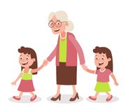 Grandmother and granddaughter twins walking. Grandmother with her grandchildren walking. Two girls, twins. She takes them by the hand. Cartoon style, isolated on Royalty Free Stock Images
