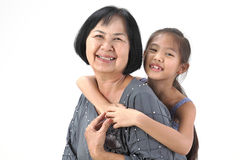 Grandmother with her grandchildren. On white background stock image
