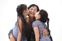 Grandmother with her grandchildren. On white background royalty free stock photography