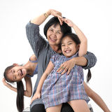 Grandmother with her grandchildren. On white background stock images