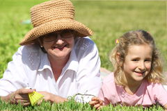 Grandmother and her granddaughter Stock Photos