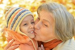 Grandmother with her granddaughter Stock Images