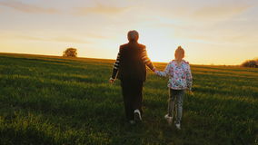 Grandmother with her granddaughter go through the meadow or field towards the sunset, wild birds fly up in front of them.  stock video