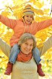Grandmother with her granddaughter in the park Royalty Free Stock Photography