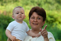 Grandmother with her grandson Royalty Free Stock Photos