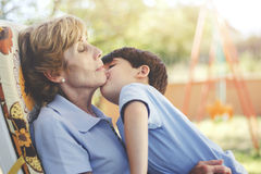 Grandmother with her grandson Royalty Free Stock Images