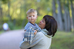 Grandmother with her grandson one family Stock Photos