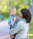 Grandmother with her grandson one family Stock Image