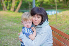 Grandmother with her grandson one family Royalty Free Stock Photos