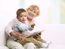 Grandmother And Her Grandson Stock Photos