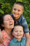 Grandmother and her grandsons royalty free stock photos