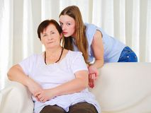 A grandmother with her young granddaughter Royalty Free Stock Photos