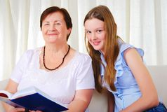 A grandmother with her young granddaughter Stock Image