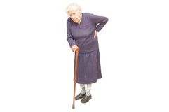 Grandmother holding a cane Stock Photography