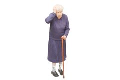 Grandmother holding a cane Royalty Free Stock Image