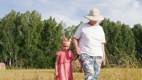 Grandmother walks with granddaughter in the meadow. Grandmother holds the arm of granddaughter while walking in the meadow in summer evening stock video