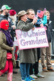 Grandmother Holds Pro Choice Sign At Atlanta Social Justice March Stock Photo