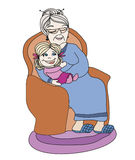 Grandmother hugs her granddaughter Stock Photography