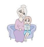 Grandmother hugs her granddaughter Stock Photos