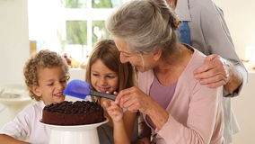 Grandmother icing cake with grandchildren Stock Image