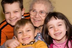 Grandmother and kids Royalty Free Stock Photography