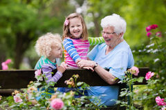 Grandmother and kids sitting in rose garden. Happy senior lady playing with little boy and girl in blooming rose garden. Grandmother with grand children sitting Royalty Free Stock Photo
