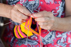Grandmother knits Royalty Free Stock Photos